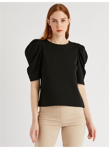 Vekem-Limited Edition Kısa Kol Kol Büzgülü Bluz Siyah